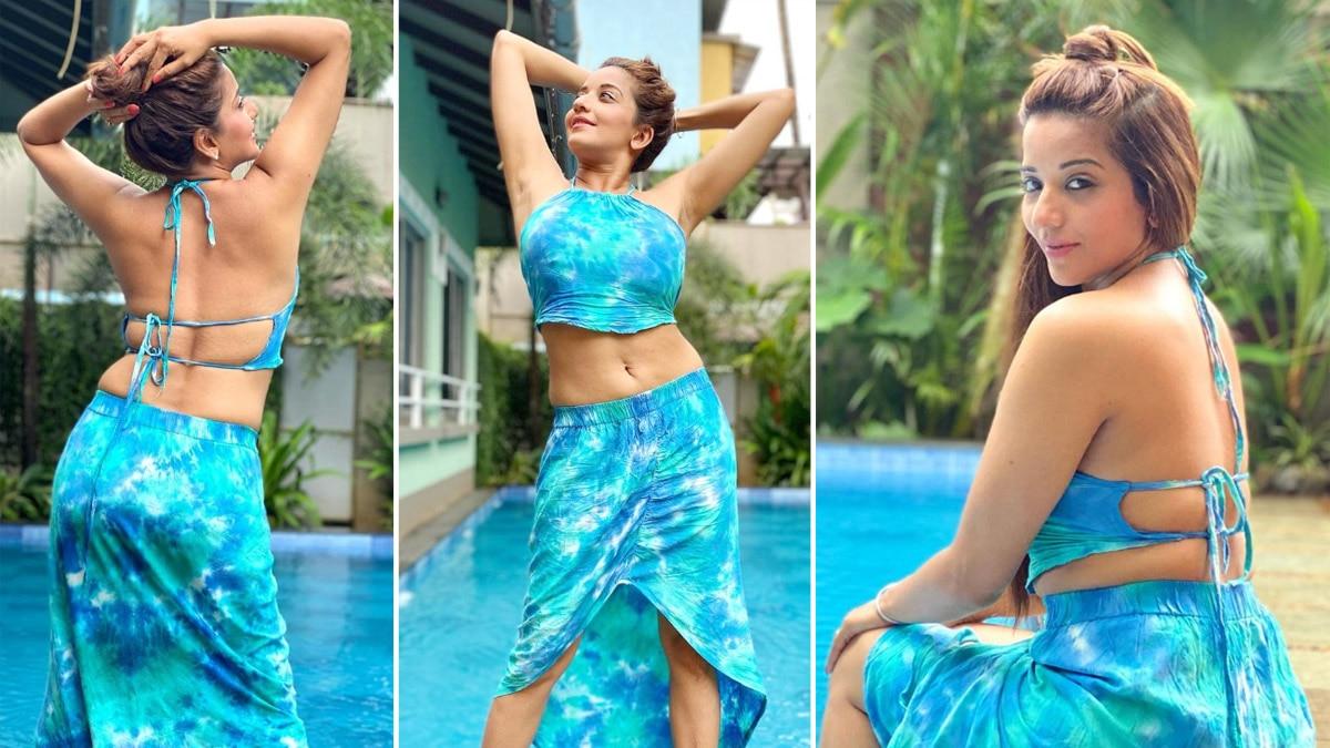 Bhojpuri Siren And TV Hottie raises hotness bar in Blue Tie dye Co ord set