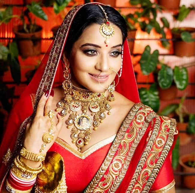 Bhojpuri Sizzler Monalisa Looks Smoking Hot in Sexy Red Bridal Wear
