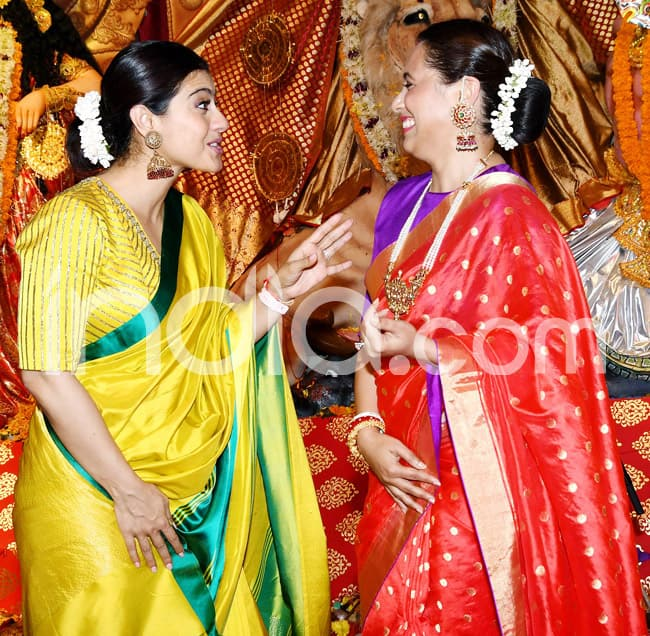 Bollywood Actors Kajol And Rani Mukerjee Reunite During Durga Puja