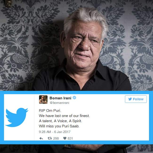Boman Irani tweets to mourn the death of Om Puri