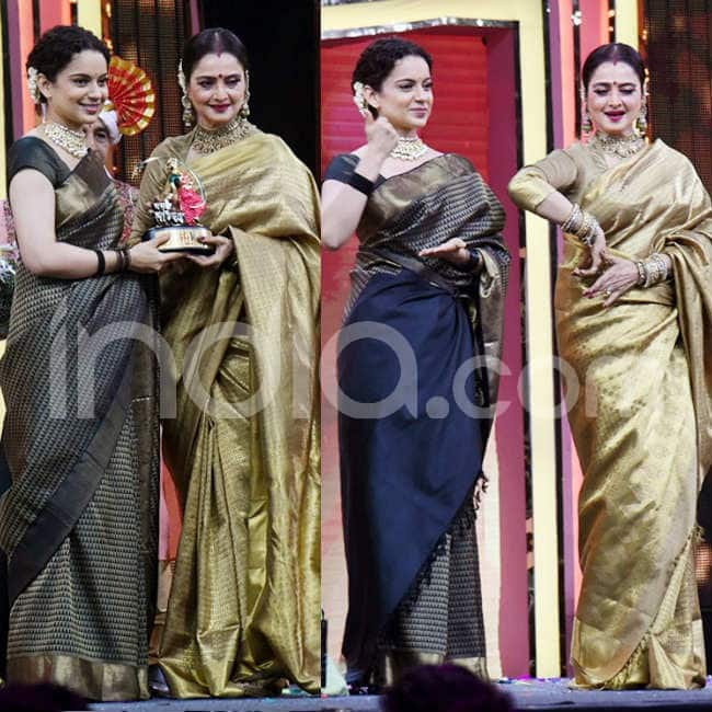 Both wore stunning sarees in golden