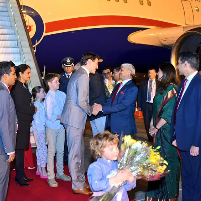 Canadian Prime Minister Justin Trudeau arrived in Delhi