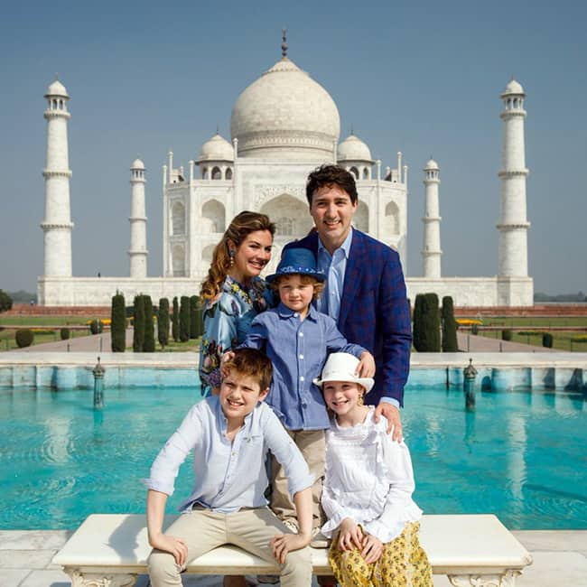 Canadian Prime Minister Justin Trudeau  at Taj Mahal with family