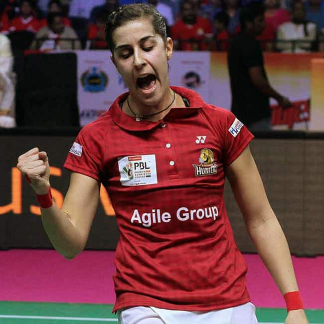 Carolina Marin during PBL 2017 opener match