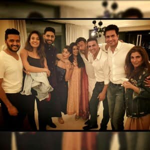 Bollywood diva Asin hosted a dinner party for the cast of 'Housefull 3' in Delhi, see pics!