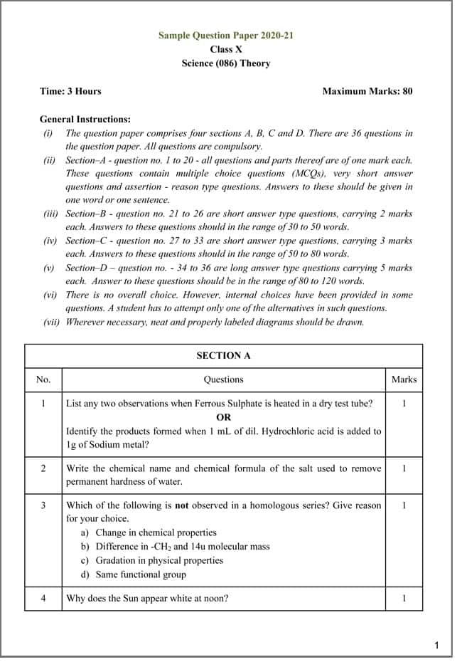 CBSE Board Class 10 Exam 2021  Download Class 10 Science Sample Paper Here