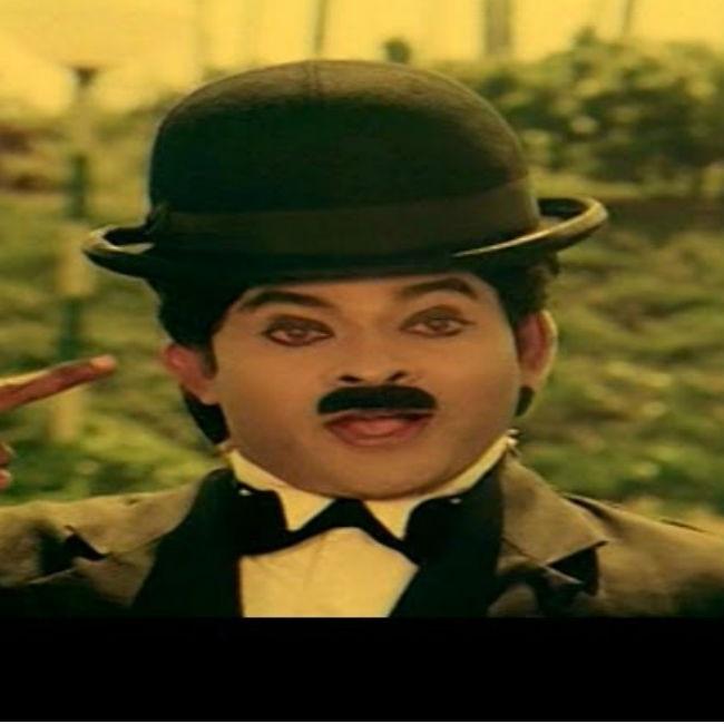 Chiranjeevi as Charlie Chaplin in Chantabbai