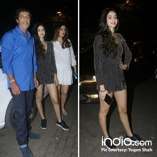 Chunkey Pandey with daughter Ananya Pandey at  Deanne Pandey on her birthday bash