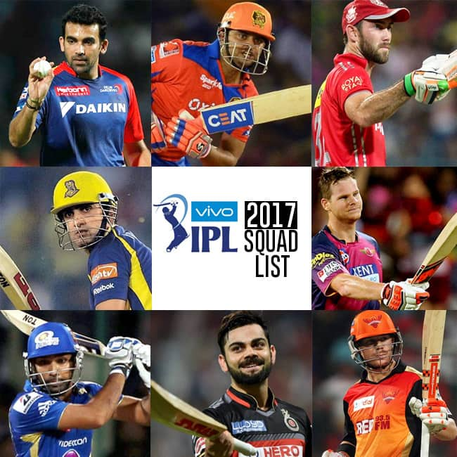 Complete list of players in all 8 teams of Vivo IPL 2017