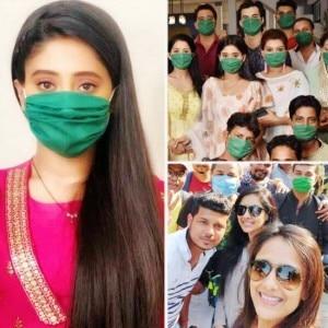 Coronavirus Pandemic: Shivangi Joshi And Mohsin Khan Arrive at 'Ye Rishta Kya Kehlata Hai' Set in Mask Raising Awareness, See Pictures