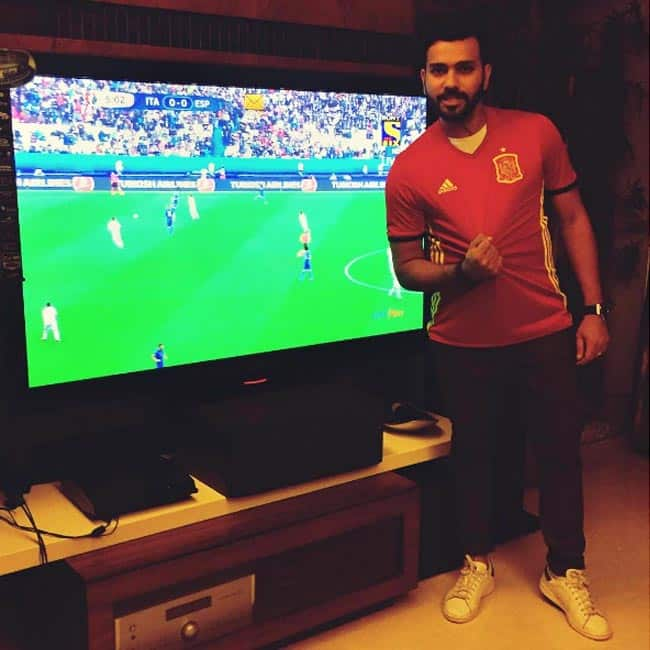 Cricketer Rohit Sharma enjoying EURO 2016