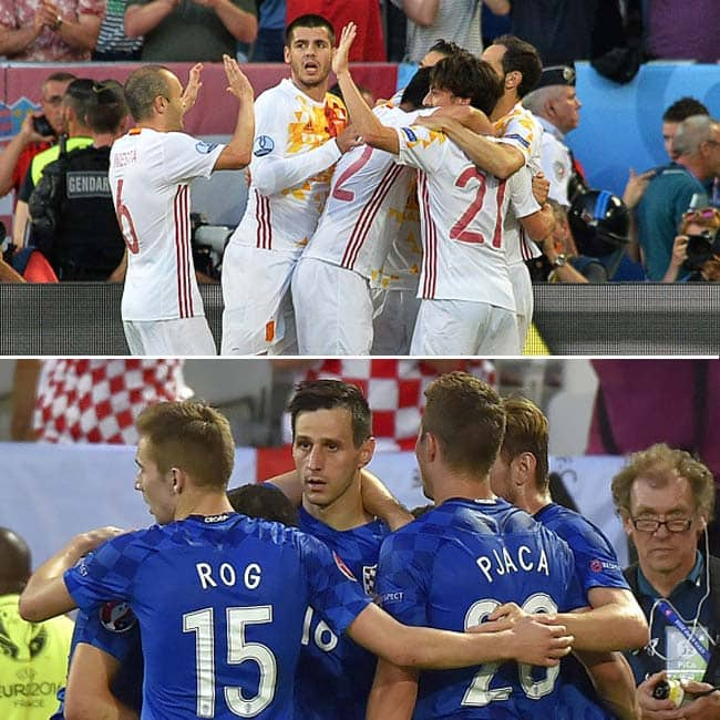 Croatia marked a 2 1 win over Spain in UEFA EURO 2016 Group D match