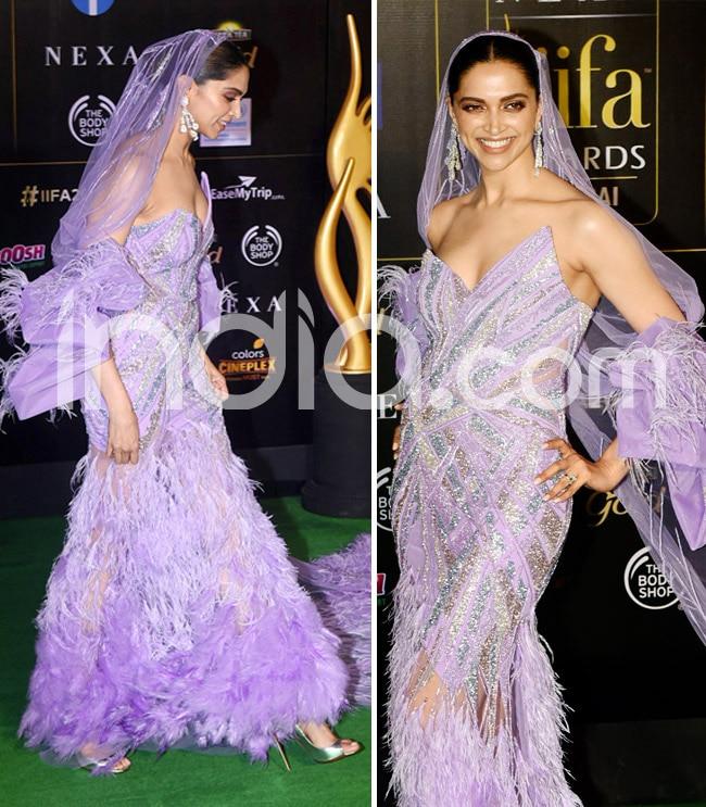 Deepika Padukone Stuns Everyone in Purple Dress With Feathers And Veil