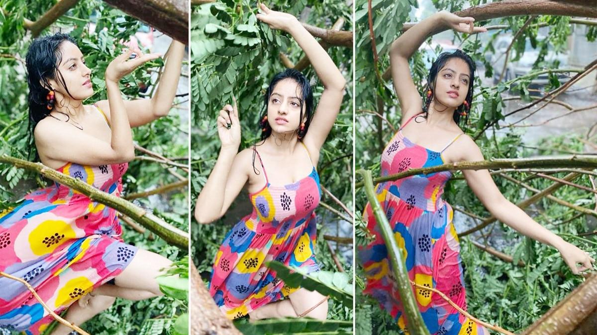 Deepika Singh enjoys rain amid Cyclone Tauktae in Mumbai