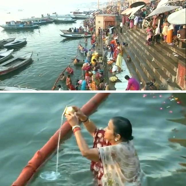 Devotees take holy dip in Ganga on Magha Purnima