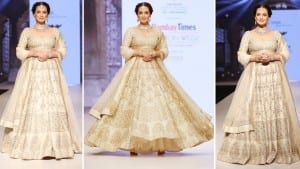 Dia Mirza Exudes Royal Grace in a Gorgeous Biege And Golden Bridal Lehenga | See Pics