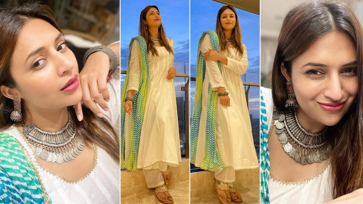 Divyanka Tripathi Looks Stunning in White Anarkali