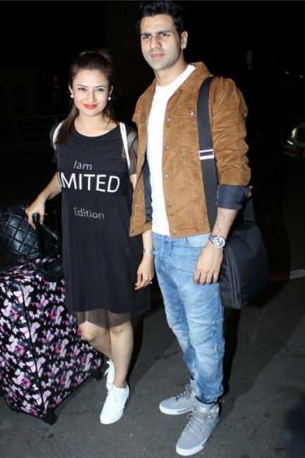 Divyanka Tripathi with husband Vivek Dahiya at Mumbai airport