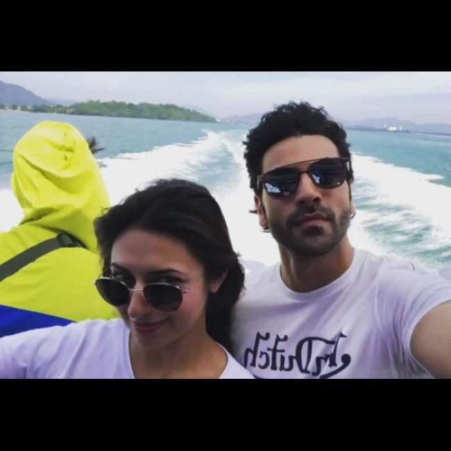 Divyanka Tripathi with husband Vivek Dahiya on ferry in Phuket