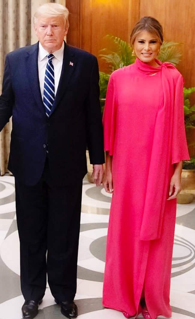 Donald Trump and Melania Trump at the Rashtrapati Bhavan