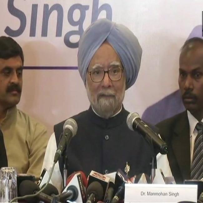 Dr  Manmohan Singh addresses media in Rajkot