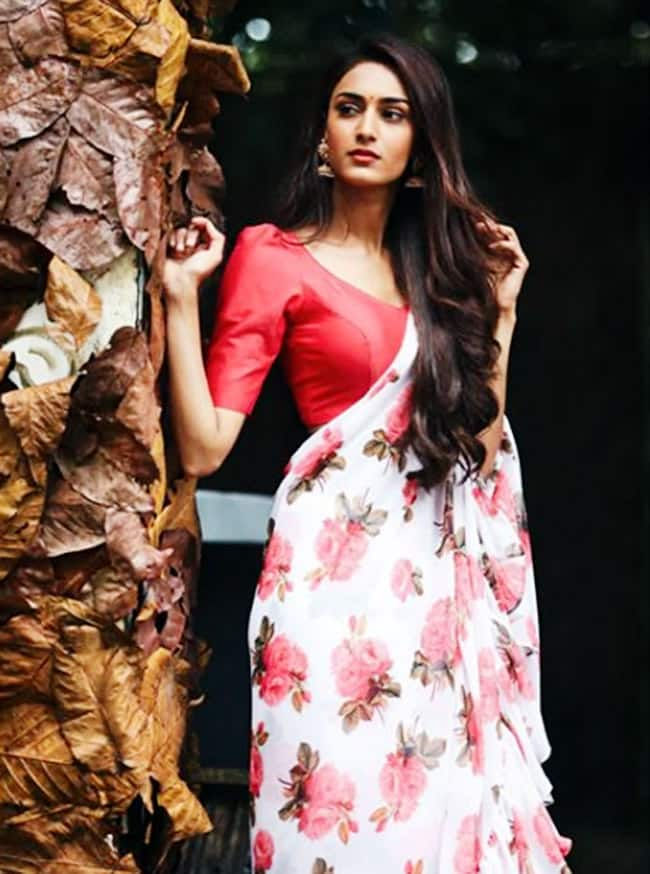 Erica Fernandes looks hot in a white saree with red floral prints