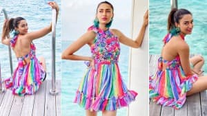 Erica Fernandes Goes Backless And We Bet It's The Most Colourful Dress You'd Have Seen by Far