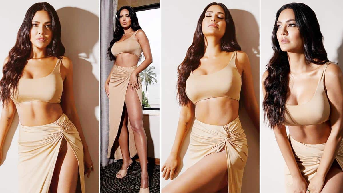 Esha Gupta is Serving Major Fashion Goals in Monotone Bralette And Waist High Slit Skirt