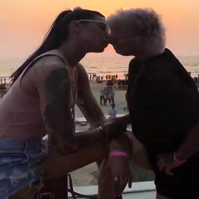 Ex Bigg Boss contestants Bani J and Sapna Bhavnani kissing each other