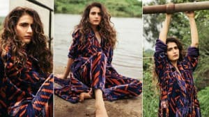 Fatima Sana Shaikh is a Vision in a Printed Velvet Blazer And Pants Set  See Pictures