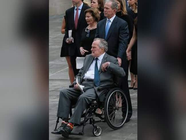 Former US President George H W  Bush hospitalized days after wife s death