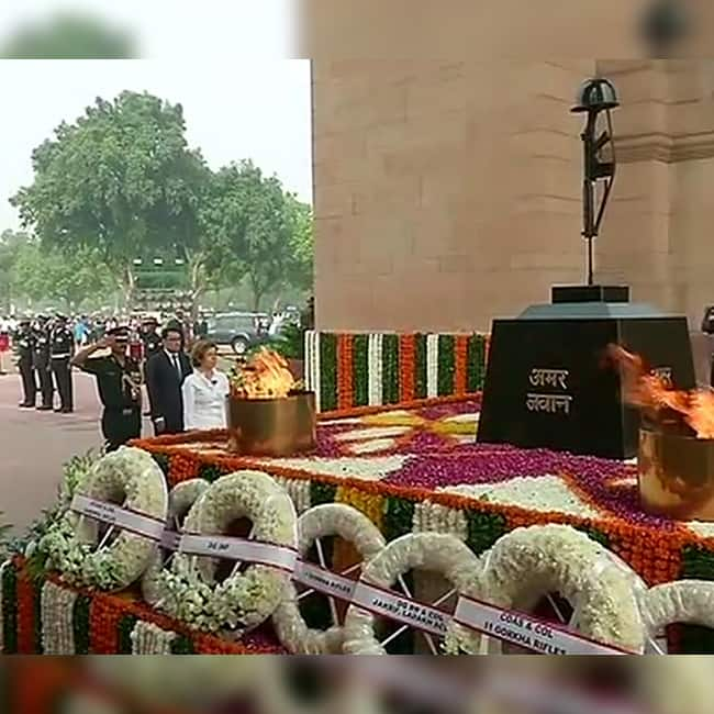 French Minister of the Armed Forces  Florence Parly at India Gate