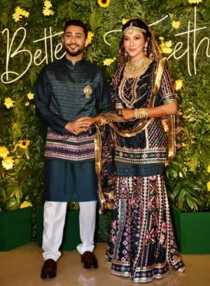 Gauahar Khan and Zaid Darbar Mehendi Pics: Couple Twins In Green Sharara Outfits, Poses For The Paparazzi