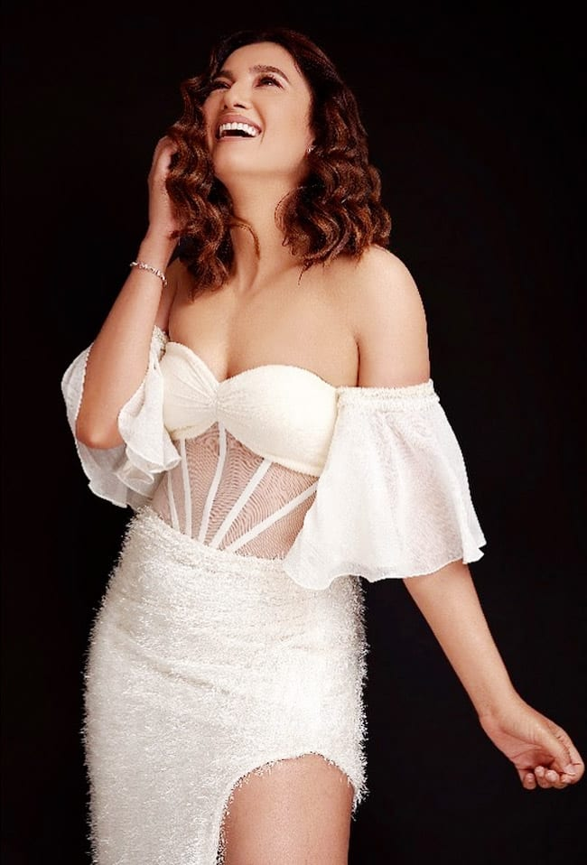 Gauahar Khan wears a sheer white dress