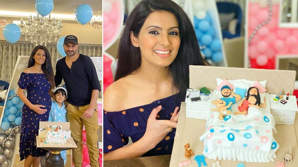 Geeta Basra  Harbhajan Singh   s Baby Shower Photos Are Going Viral  See Decoration  Cake