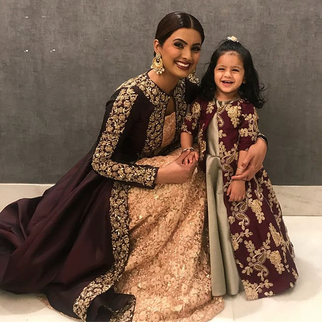 Geeta Basra twinning with daughter Hinaya Singh for a wedding