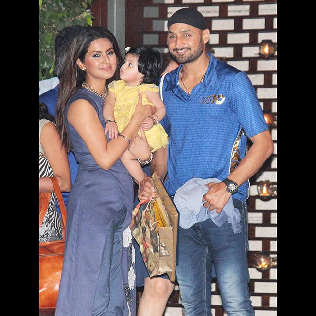 Geeta Basra with husband Harbhajan Singh and daughter Hinaya