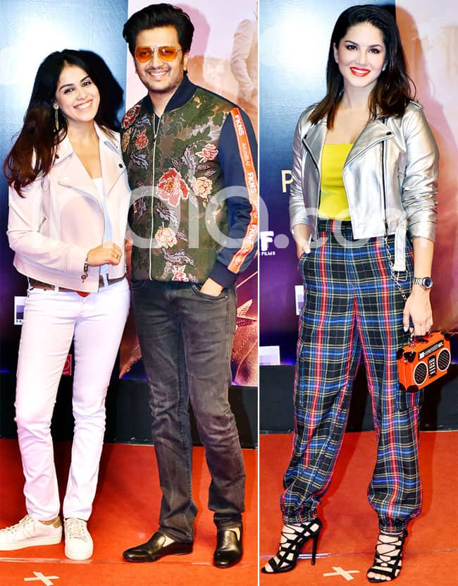 Genelia D Souza  Riteish Deshmukh and Sunny Leone all smiles as they came to watch Dabangg 3