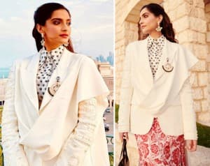 In PHOTOS: Sonam Kapoor Ahuja Gives Chic Spin to Skirt With Jacket, Leaves Fans in Qatar Gushing