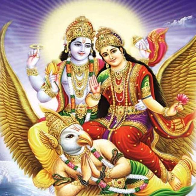 Goddess Lakshmi with Lord Vishnu on an owl
