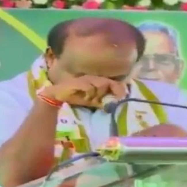 H D Kumaraswamy Breaks Down  Says He s Swallowing Pain of Coalition Govt
