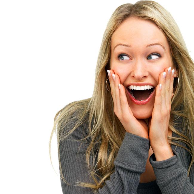 Happy women laugh out loud