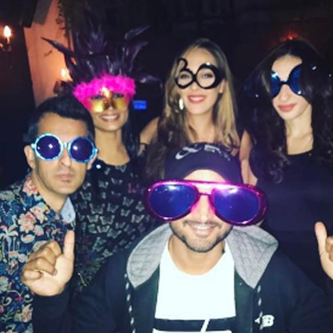 Hazel Keech with Harbhajan Singh at her birthday party