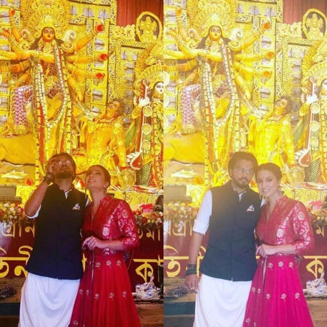 Hina Khan and Rocky Jaiswal in Kolkata for Durga Puja
