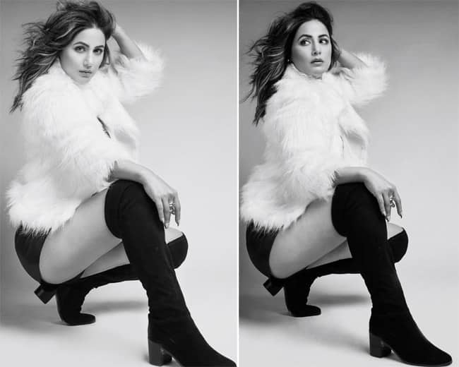 Hina Khan cozy looks in a white fur jacket  check latest monochrome photoshoot