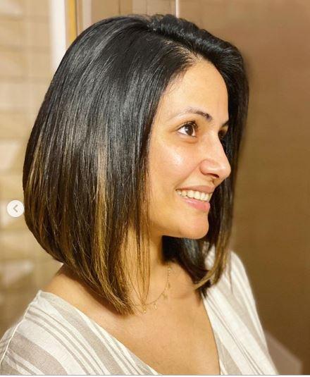 Hina Khan donned a sleek layered bob cut