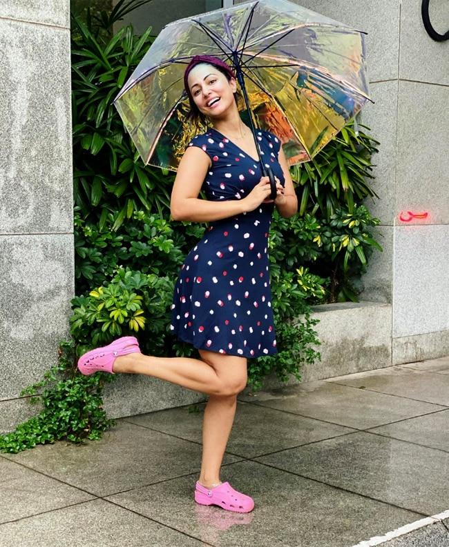 Hina Khan in a polka dotted dress