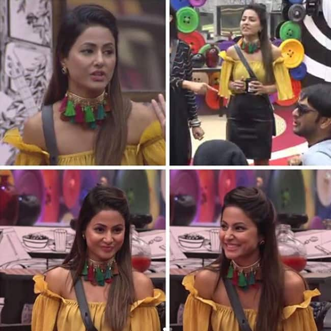 Hina Khan in an off shoulder top and mini skirt inside Bigg Boss house