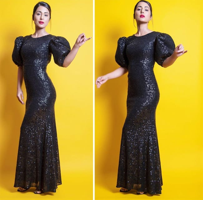 Hina Khan is a Black Beauty in Shimmery Dress And Bold Makeup