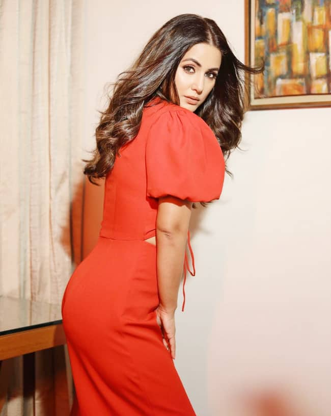 Hina Khan is looking super hot in a red cutout jumpsuit